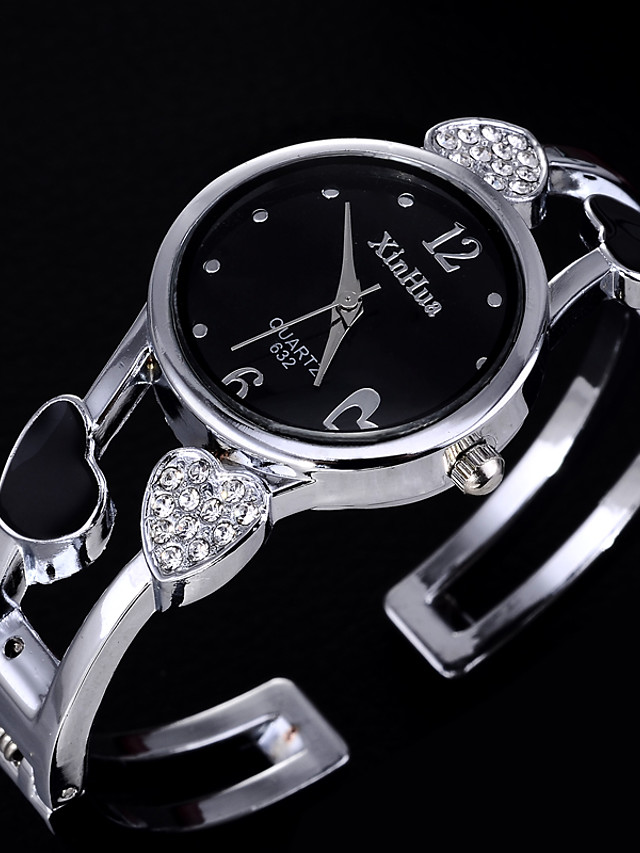 Women's Quartz Watches Quartz Formal Style Heart shape Casual Watch Stainless Steel Black / White Analog - White Black One Year Battery Life