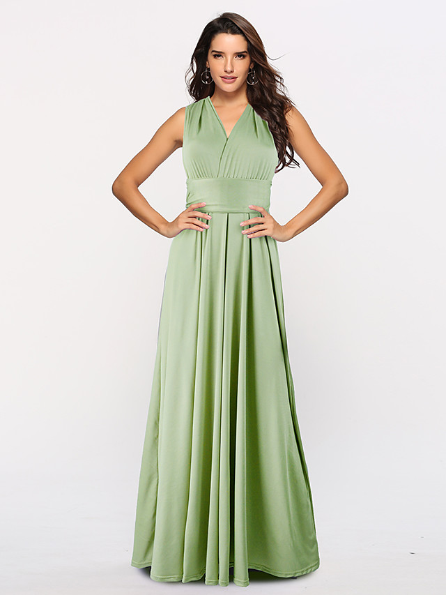 A-Line Convertible Holiday Prom Dress Halter Neck Sleeveless Floor Length Stretch Satin with Sash / Ribbon Pleats 2021