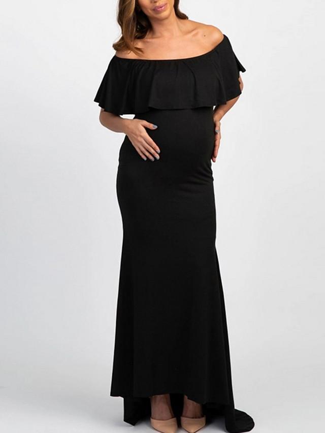 Women's Maternity Maxi Sheath Dress - Short Sleeve Solid Colored Basic Black Blushing Pink Light Blue S M L XL XXL