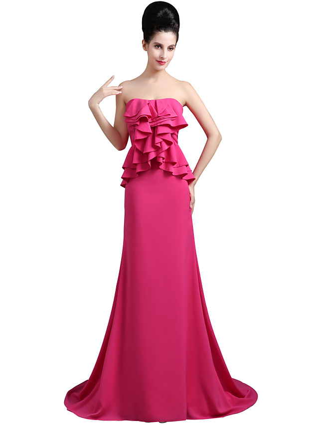 Mermaid / Trumpet Elegant Empire Engagement Formal Evening Dress Sweetheart Neckline Sleeveless Court Train Chiffon with Ruffles 2020