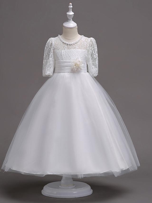 Princess Tea Length Wedding / First Communion Flower Girl Dresses - Lace / Satin / Tulle Half Sleeve Jewel Neck with Lace / Belt / Beading