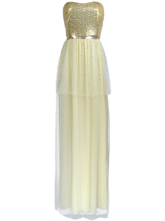Sheath / Column Elegant Sexy Holiday Prom Dress Strapless Sleeveless Floor Length Tulle Sequined with Sequin 2020