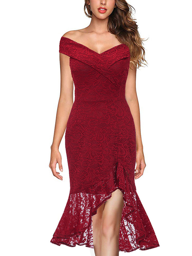 Mermaid / Trumpet Elegant Vintage Inspired Homecoming Prom Dress Off Shoulder Sleeveless Ankle Length Lace with Split Front 2020