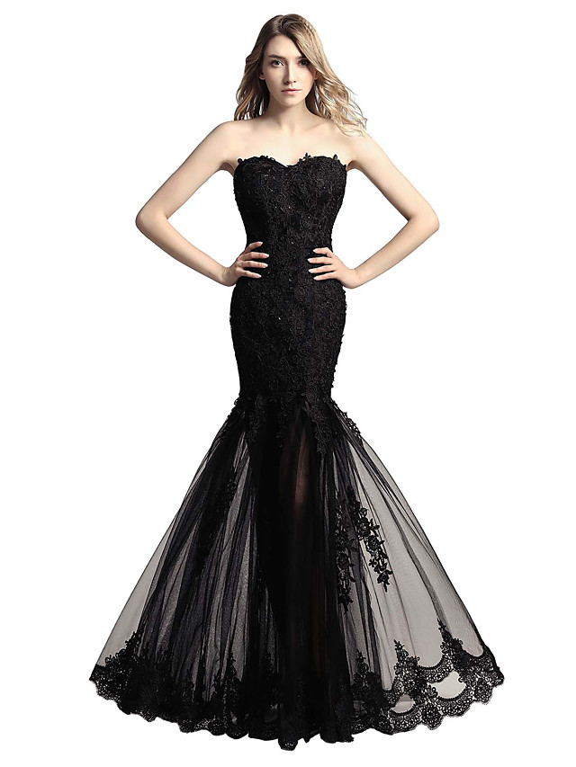 Mermaid / Trumpet Floral Sexy Engagement Formal Evening Dress Sweetheart Neckline Sleeveless Floor Length Tulle with Sequin Appliques 2020