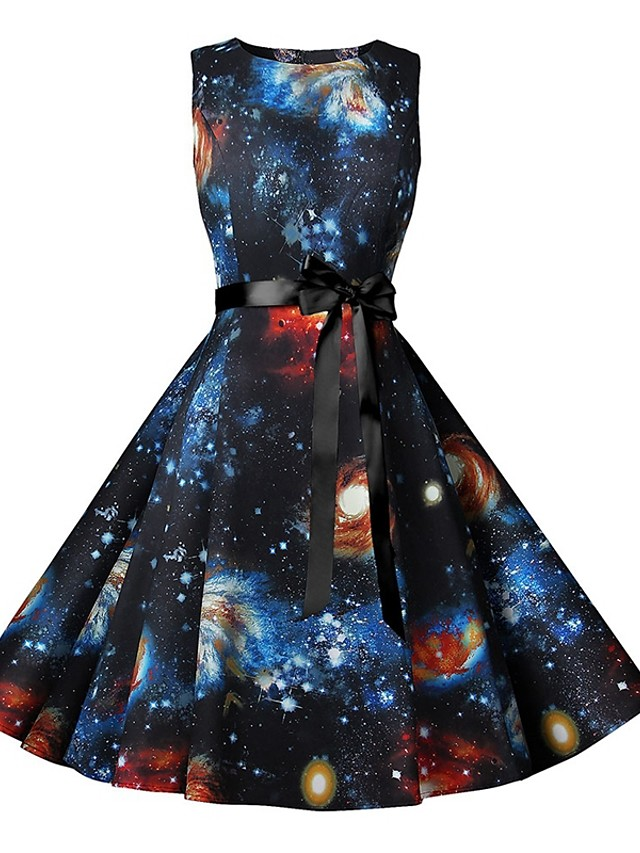 Women's Black Dress Elegant Vintage A Line Sheath Little Black Color Block Rainbow Bow Patchwork Print S M