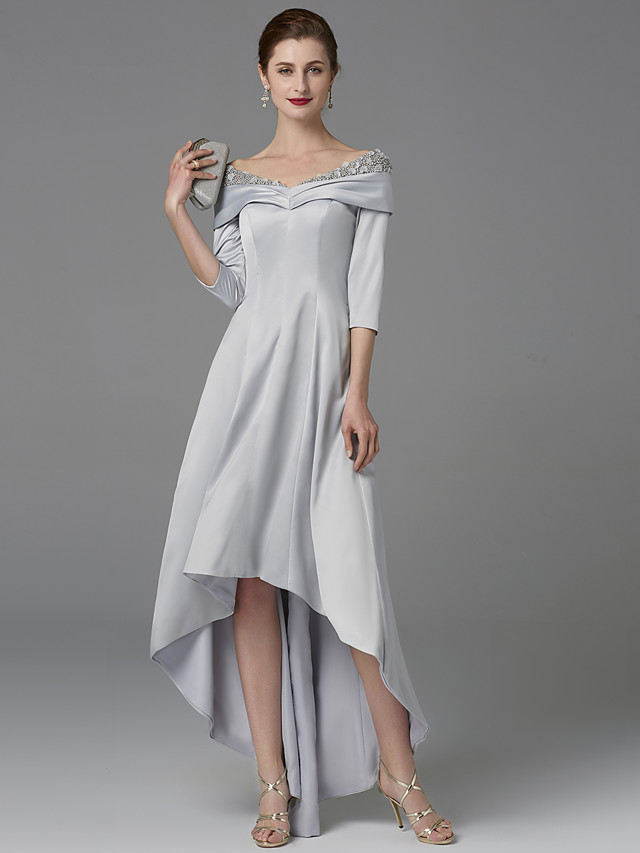 A-Line Mother of the Bride Dress Sparkle & Shine Off Shoulder Asymmetrical Satin Half-Sleeve with Lace Crystals 2020