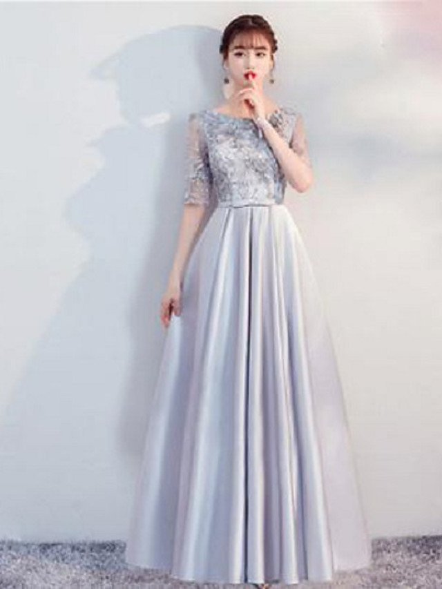 A-Line High Neck Knee Length / Floor Length Stretch Satin Bridesmaid Dress with Sequin / Pattern / Print