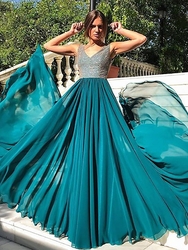 A-Line Elegant & Luxurious Vintage Inspired Holiday Wedding Party Dress V Neck Sleeveless Floor Length Chiffon with Pleats Sequin 2020