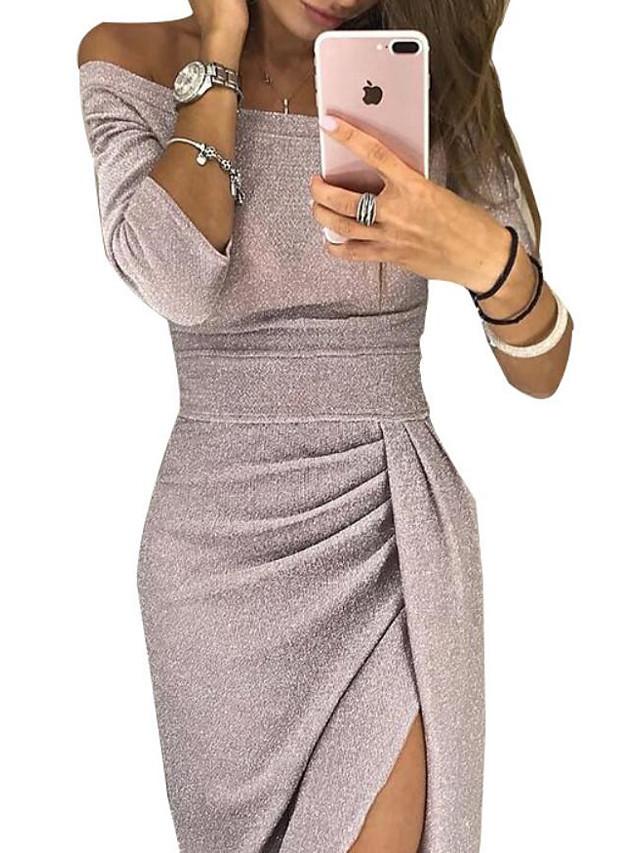 Sheath / Column Off Shoulder Ankle Length Polyester / Sequined Elegant Cocktail Party Dress with Sequin / Split Front 2020