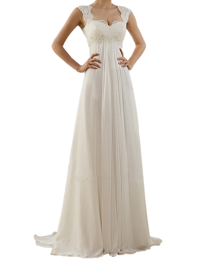 A-Line Mermaid / Trumpet Elegant & Luxurious Vintage Inspired Formal Evening Wedding Party Dress Square Neck Sleeveless Sweep / Brush Train Chiffon Lace with Lace Insert 2020
