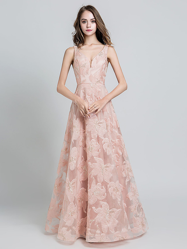 A-Line Beautiful Back Floral Wedding Guest Formal Evening Dress V Neck Sleeveless Floor Length Tulle with Embroidery 2021