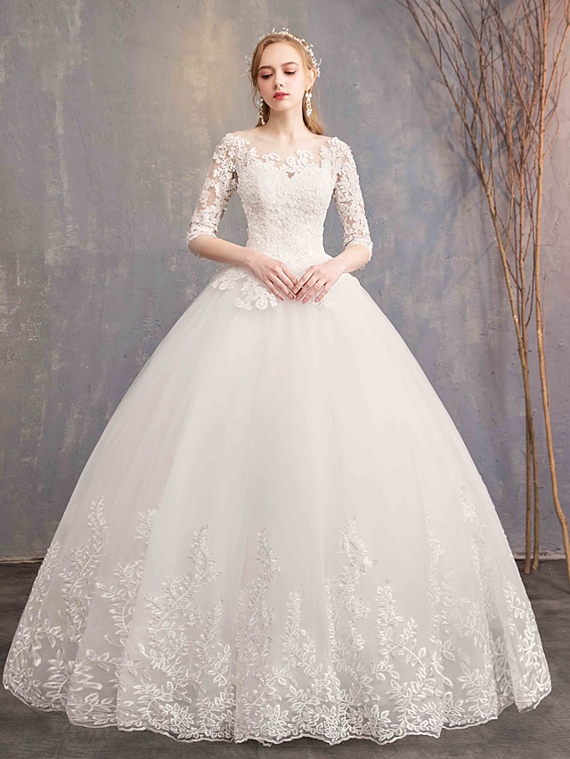 Ball Gown Wedding Dresses Bateau Neck Maxi Lace Tulle Half Sleeve Glamorous Illusion Sleeve with Lace 2021