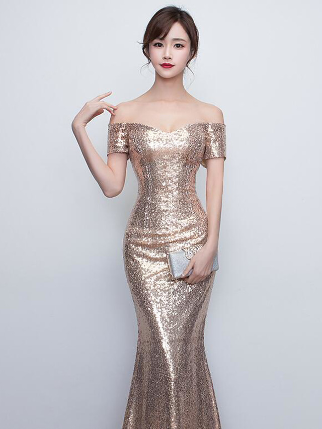 Mermaid / Trumpet Elegant Beautiful Back Formal Evening Dress Off Shoulder Short Sleeve Floor Length Sequined with Sequin 2020