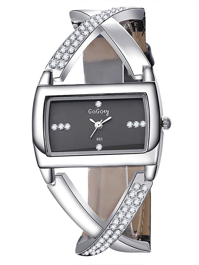 Dam Quartz Square Watch Quartz Formell Stil Elegant Vardaglig klocka Ramtyp Vit Svart / Ett år / Rostfritt stål / PU-läder / Ett år
