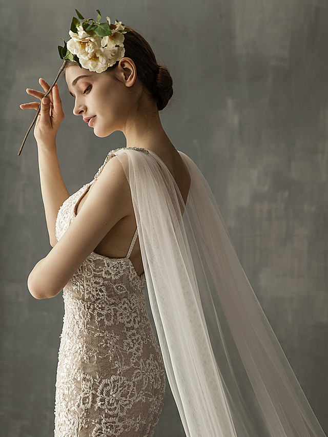 One-tier Elegant & Luxurious Wedding Veil Chapel Veils / Cathedral Veils with Sparkling Glitter Tulle / Mantilla