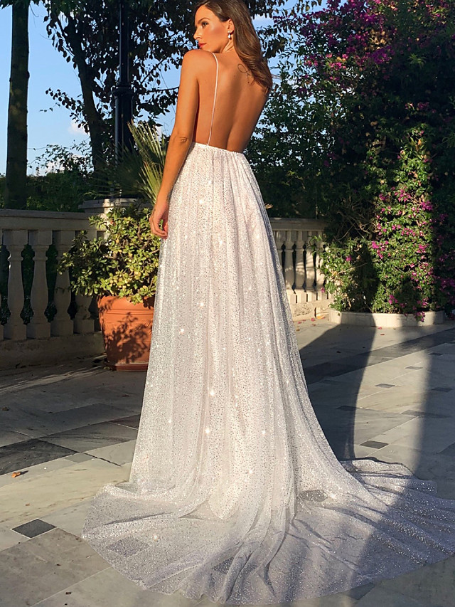 A-Line Elegant & Luxurious Sexy Formal Evening Wedding Party Dress Spaghetti Strap Sleeveless Sweep / Brush Train Tulle with Sequin 2020