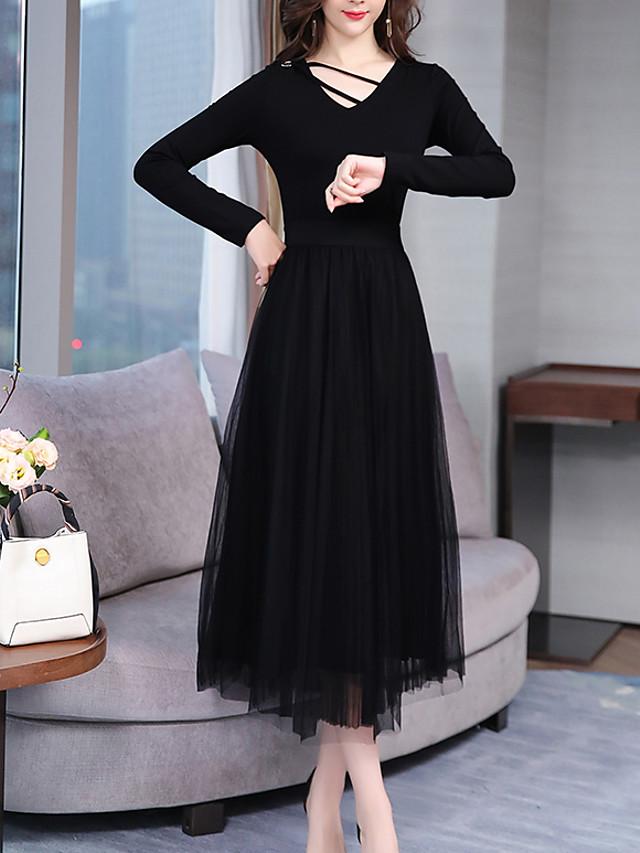 Damen Elegant A-Linie Kleid Solide Midi V-Ausschnitt ...