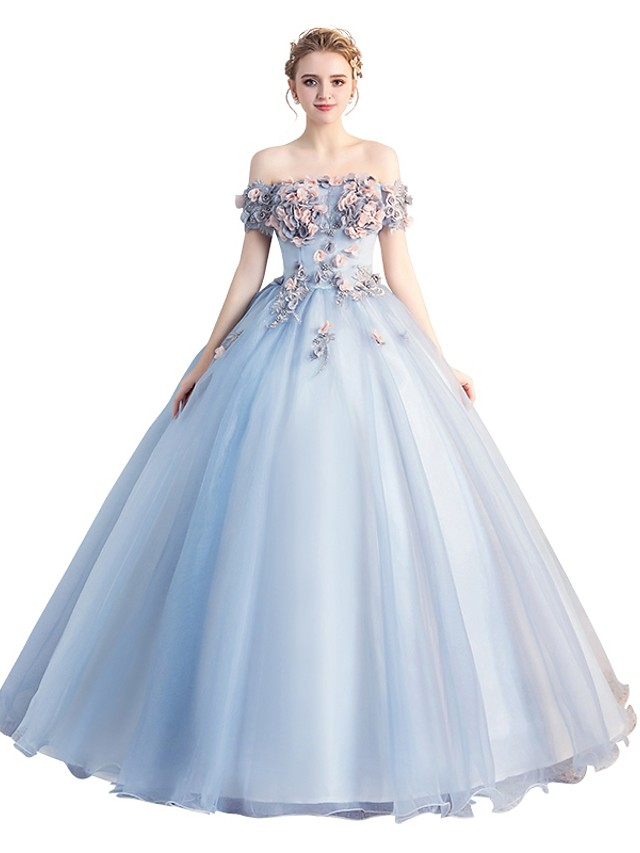 Ball Gown Floral Blue Quinceanera Formal Evening Dress Off Shoulder Short Sleeve Floor Length Tulle with Appliques 2020