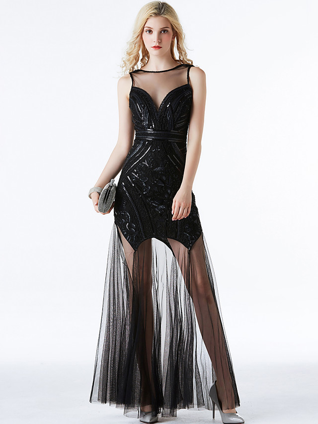 A-Line Elegant Vintage Inspired Prom Formal Evening Dress Jewel Neck Sleeveless Ankle Length Tulle with Sequin 2020