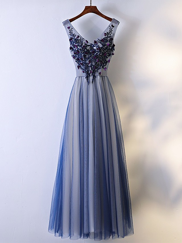 A-Line V Neck Floor Length Tulle Bridesmaid Dress with Beading / Appliques