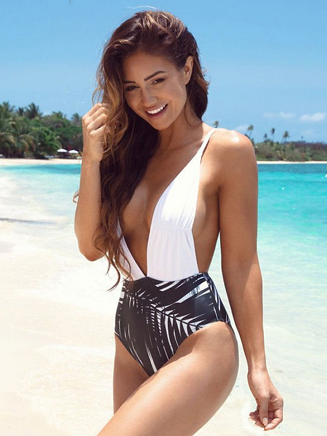 Normal Polyester Swimwear & Bikinis Sexy Floral Daily Wear Printing