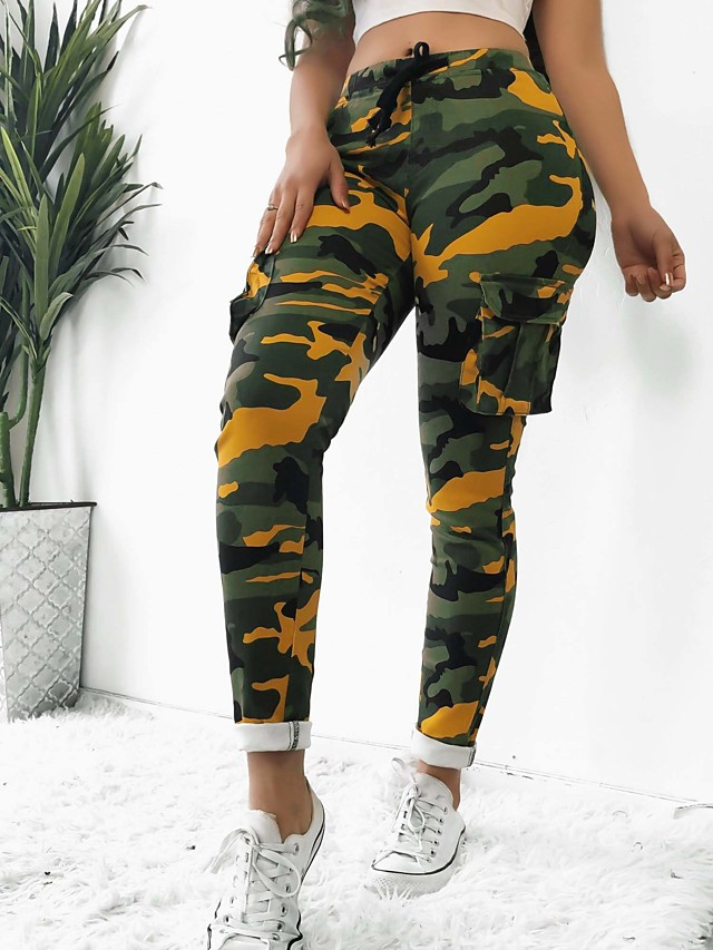 Women's Sporty Slim Tactical Cargo Pants Camouflage White Yellow Army Green S M L