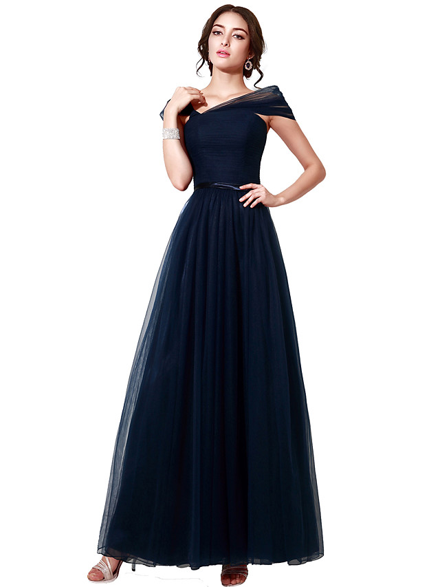 A-Line Elegant Minimalist Wedding Guest Formal Evening Dress V Neck Short Sleeve Floor Length Tulle with Sash / Ribbon Ruched 2020