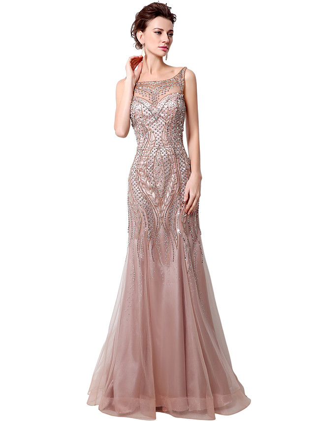 Mermaid / Trumpet Elegant Luxurious Engagement Formal Evening Dress Boat Neck Sleeveless Court Train Tulle with Beading Sequin 2020