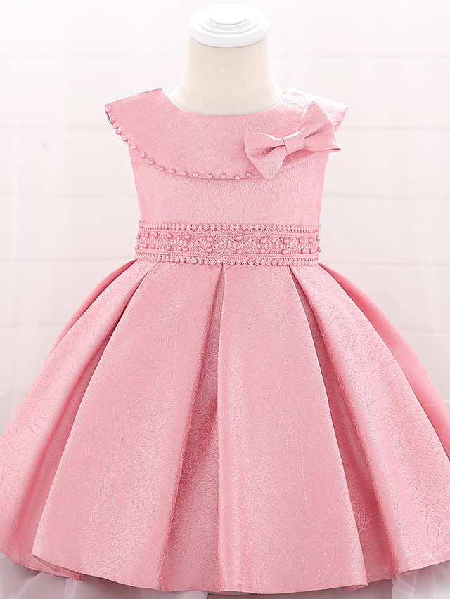 Ball Gown Floor Length Birthday / Event / Party Christening Gowns - Lace / Mikado Short Sleeve Jewel Neck with Bow(s)
