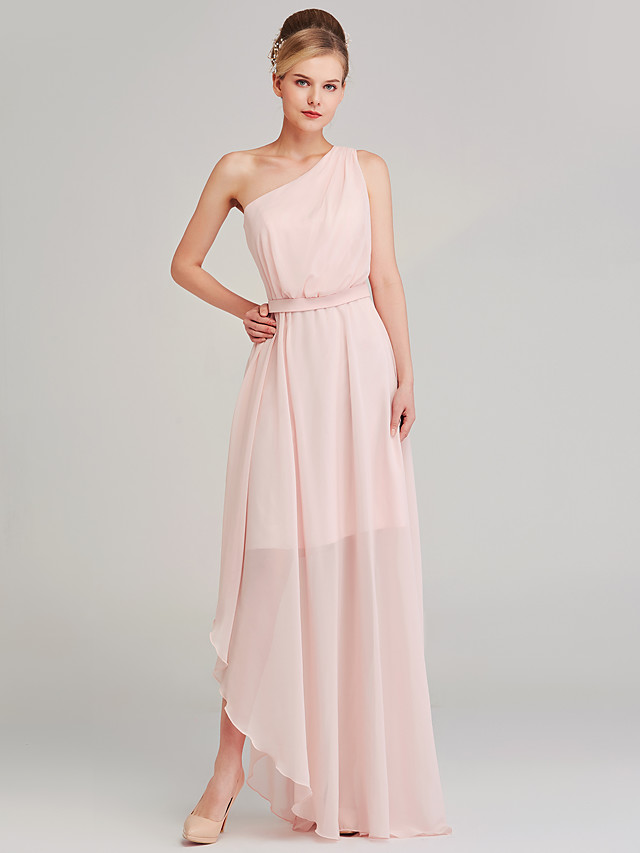 A-Line One Shoulder Sweep / Brush Train Chiffon Celebrity Style Formal Evening Dress with Sash / Ribbon / Split Front 2020