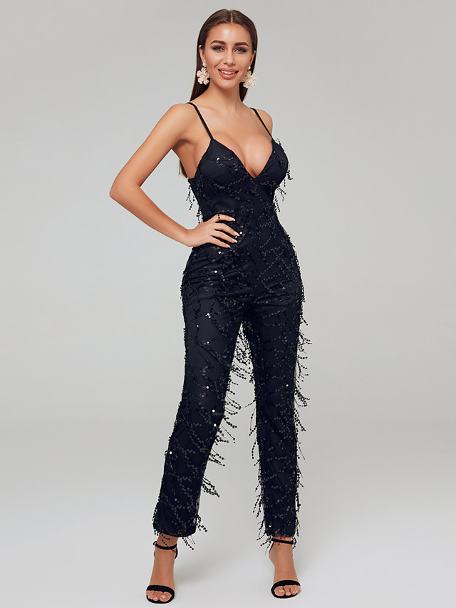 Jumpsuits Sexy Black Party Wear Formal Evening Dress Spaghetti Strap Sleeveless Ankle Length Sequined with Beading Sequin Tassel 2020