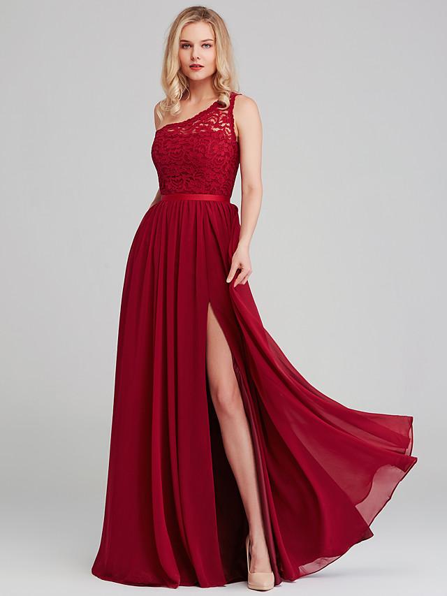 A-Line One Shoulder Long Length Chiffon / Lace Bridesmaid Dress with Sash / Ribbon