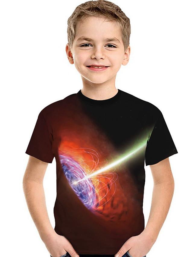 Kids Toddler Boys' Active Basic Geometric Print 3D Print Short Sleeve Tee Black