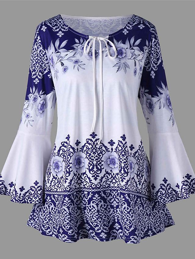 Women's Plus Size Blouse Shirt Floral Graphic Prints Long Sleeve Print Knotted Round Neck Tops Elegant Basic Top Black Blue Purple