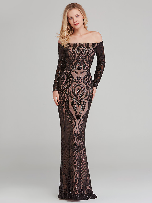 Sheath / Column Off Shoulder Floor Length Sequined Celebrity Style Formal Evening Dress with Sequin 2020