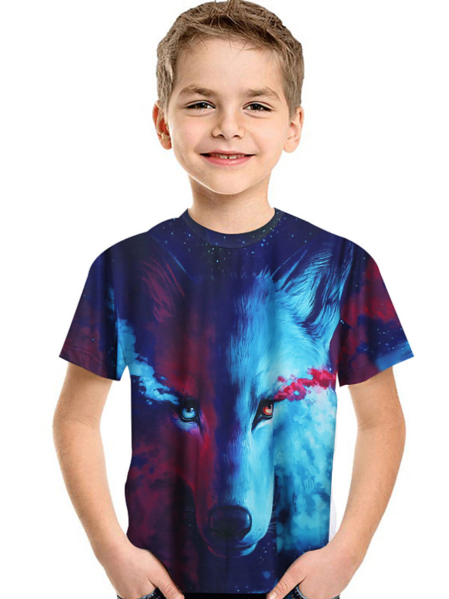Kids Toddler Boys' Active Basic Wolf Print 3D Animal Print Short Sleeve Tee Blue