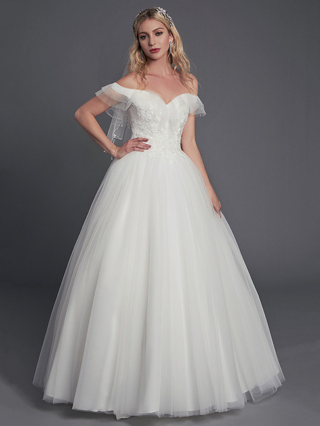 Ball Gown Wedding Dresses Off Shoulder Floor Length Lace Tulle Sleeveless Sexy with Lace Ruffles 2020