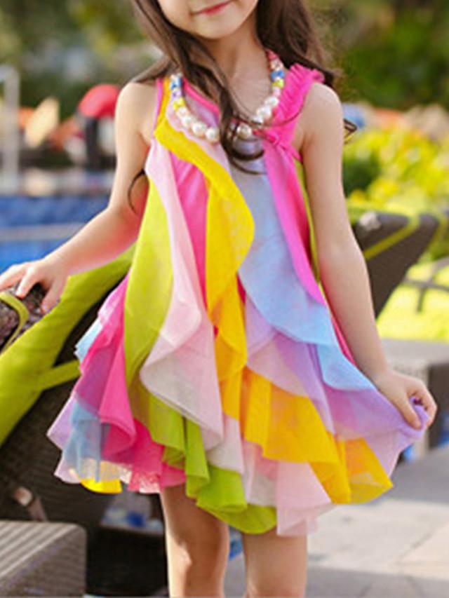 Infantil Bébé Para Meninas Doce Estilo bonito Arco-Íris Retalhos Multi Camadas Com Transparência Patchwork Sem Manga Assimétrico Vestido Fúcsia