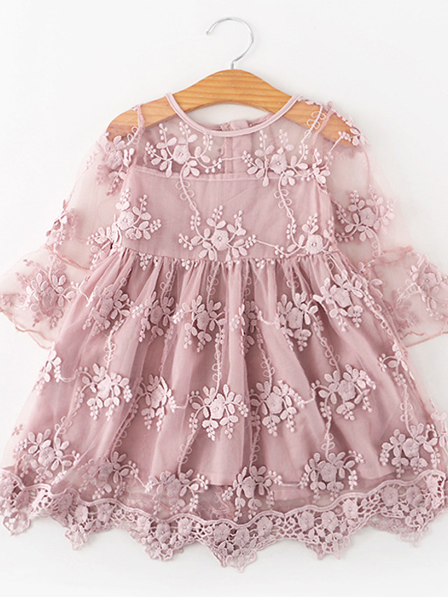 Kids Toddler Girls' Sweet Cute Rose Dusty Rose Floral Jacquard Lace Ruffle Embroidered Half Sleeve Knee-length Dress White / Cotton
