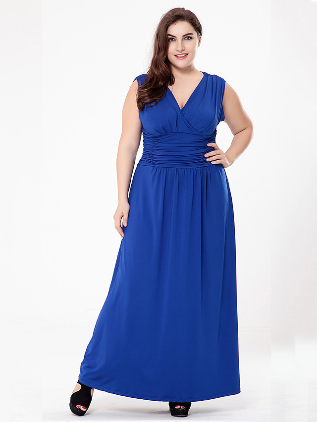 A-Line Sheath / Column Sexy Plus Size Holiday Formal Evening Dress V Neck Sleeveless Floor Length Charmeuse with Ruched 2020