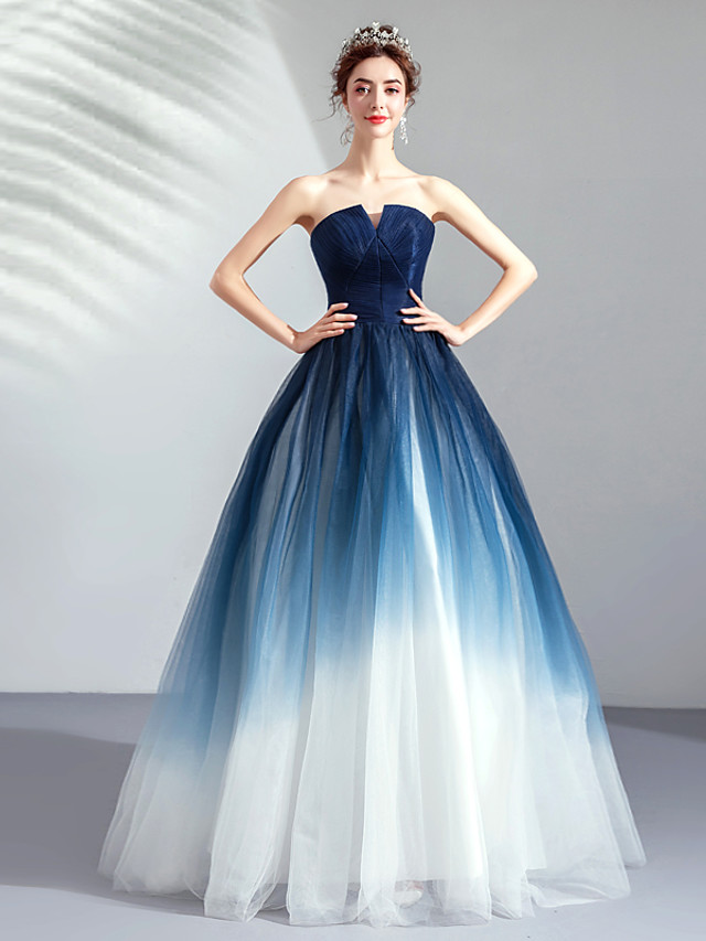 Ball Gown Color Block Blue Quinceanera Prom Dress Strapless Sleeveless Floor Length Tulle with Pleats 2020