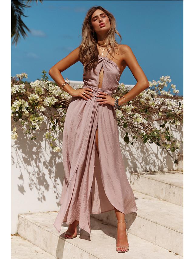 A-Line Halter Neck Asymmetrical Chiffon Bridesmaid Dress with Sash / Ribbon