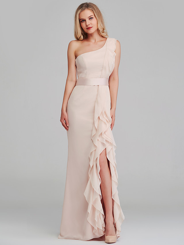 Sheath / Column One Shoulder Long Length Chiffon Bridesmaid Dress with Cascading Ruffles