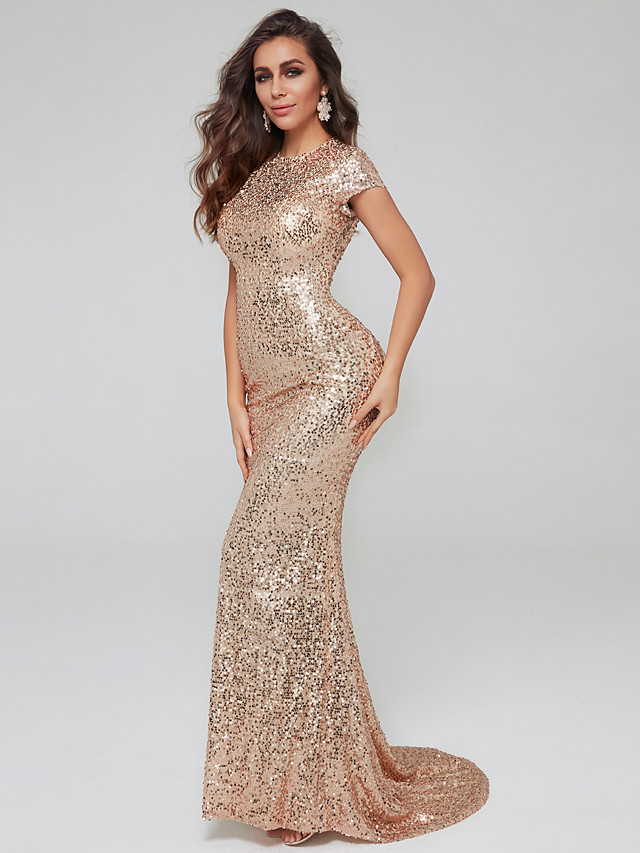 Mermaid / Trumpet Celebrity Style Formal Evening Dress Jewel Neck Short Sleeve Sweep / Brush Train Sequined with Sequin 2020