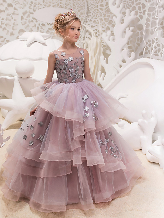 Princess Maxi Party / Birthday / Pageant Flower Girl Dresses - Lace / Organza / Tulle Sleeveless Jewel Neck with Lace / Appliques