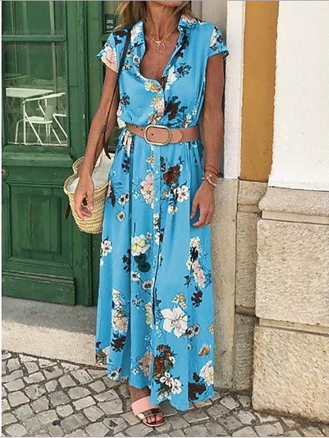 Women's Maxi Sheath Dress - Sleeveless Floral Print Print Spring & Summer Deep V Casual Holiday Vacation Slim Boho / Beach Blue Purple Yellow S M L XL XXL / Cotton