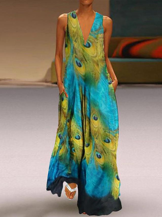Women's Plus Size Maxi Sheath Dress - Sleeveless Geometric Spring & Summer V Neck Basic Vintage Slim 2020 Royal Blue Light Blue S M L XL XXL XXXL XXXXL XXXXXL
