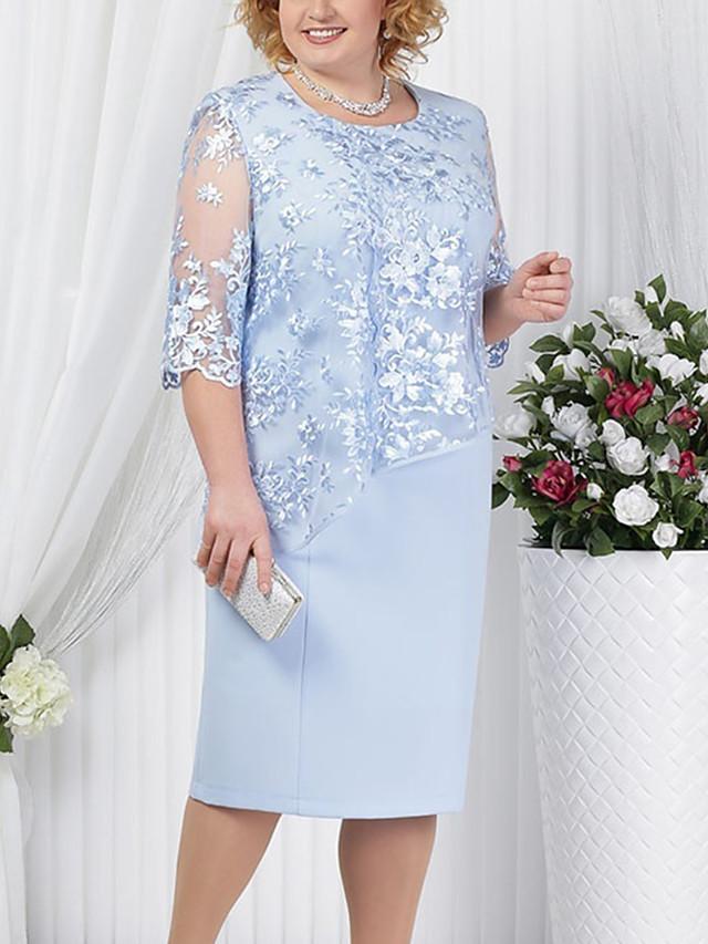 Női Hüvelyruha Térdig érő ruha Rubin Tengerészkék Világoskék Féhosszú Egyszínű Előírásos stílus Csipke Tavasz Nyár Kerek meleg Az anyának Alkalmi 2021 L XL XXL 3XL 4XL 5XL / Extra méret / Extra méret