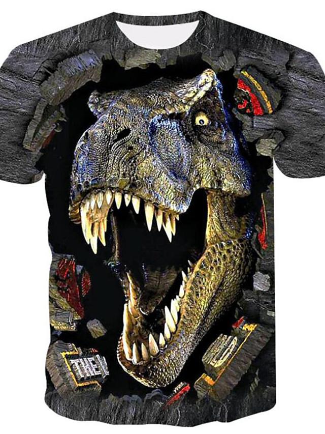 男性用 Tシャツ シャツ 3Dプリント グラフィック 3D 動物 プラスサイズ プリント 半袖 ストリート トップの アニメ系 クラシック・タイムレス ブラック