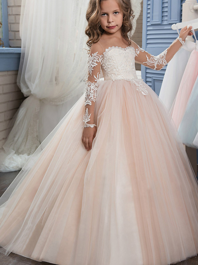 Ball Gown Sweep / Brush Train Wedding / Birthday / Pageant Flower Girl Dresses - Lace / Tulle Long Sleeve Off Shoulder with Lace / Embroidery / Appliques